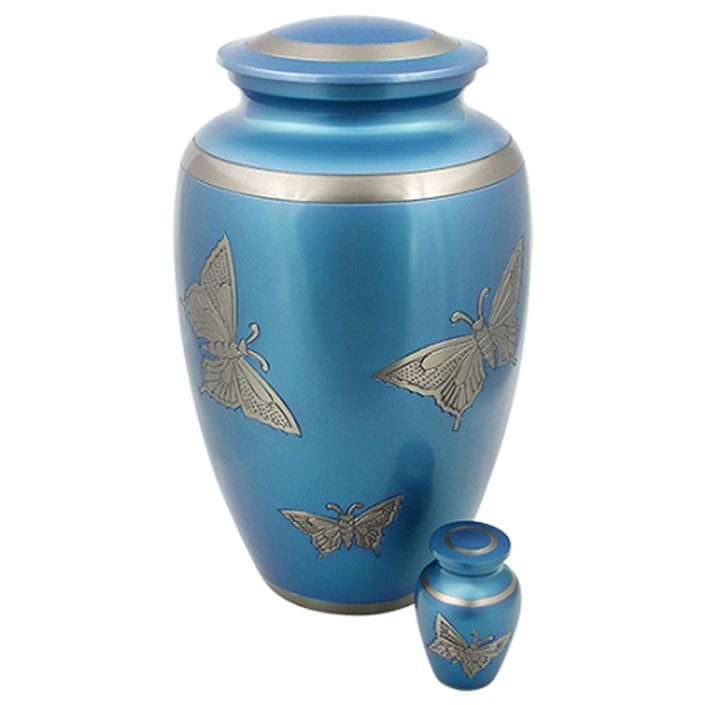 Butterfly Engraved Blue Urn