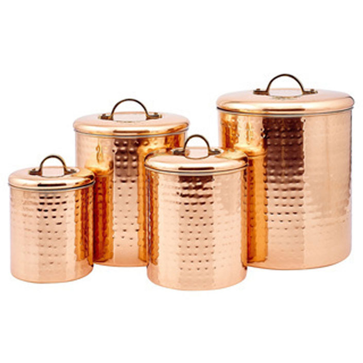 Hammered Copper Canisters Set
