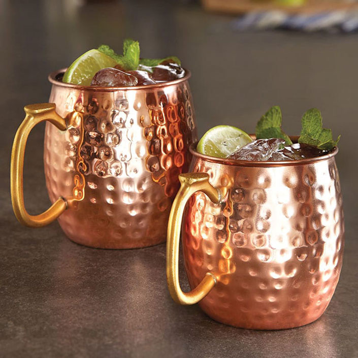 Thumb Handle Copper Mugs
